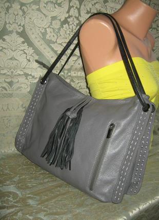 Итальянская большая кожаная женская сумка формат а4 держит форму 100% натуральная кожа