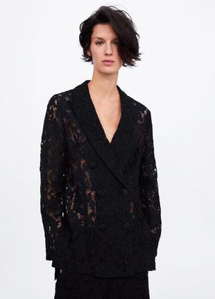 Zara жакет кружевной из последних коллекций