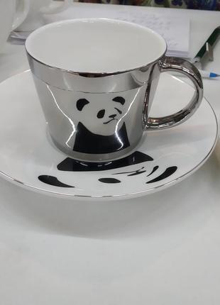 Чашка с блюдцем зеркальная