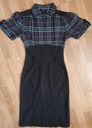 Платье для офиса серый цвет клетка. размер 34. продаю