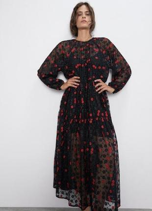 Розпродаж оверсайз плаття з квітами від zara