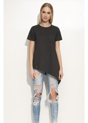 Оригинальная блузка - футболка черная. с карманом и диагональным краем. б6
