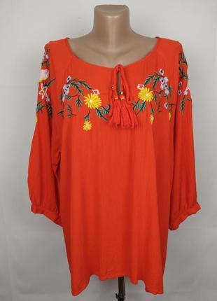 Блуза вышиванка красная стильная f&f uk 18/46/xxl