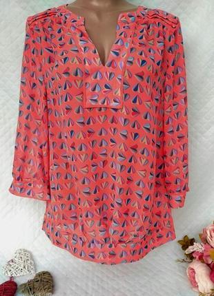 Красивая шифоновая блуза в сердечки размер 8-12 (40-42)