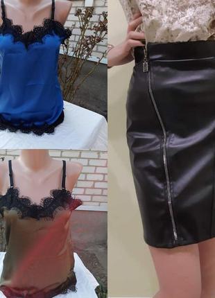 Женская юбочка эко кожа + любая маечка на выбор