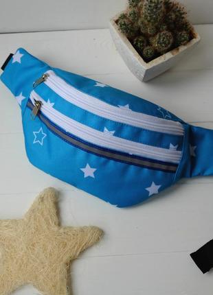 Сумка-бананка с звездами, поясная сумка 78, молодежная бананка, барсетка, нагрудная сумка