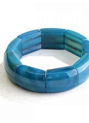 Браслет на резинке голубой агат