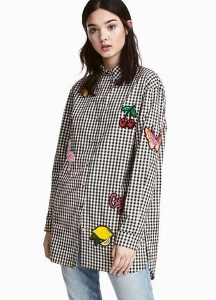 Длинная  оверсай рубашка в клетку с патчами h&m(zara)100%хлопок