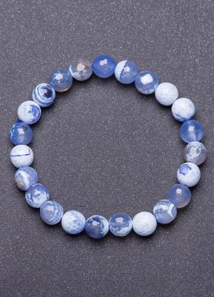 Браслет натуральный камень на резинке голубой агат