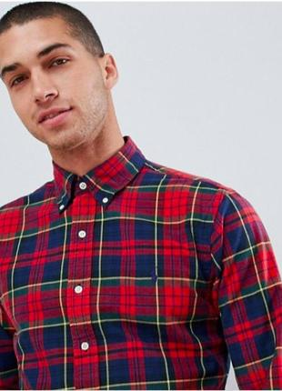 Рубашка в клетку polo ralph lauren slim fit tartan check oxford 1314791 красная с синим