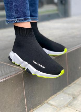Женские кроссовки balenciaga speed trainer black&neon green 😍