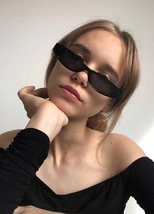 Качественные черные солнцезащитные очки узкие имиджевые ретро сонцезахисні окуляри чорні