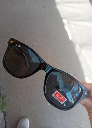 Стильные качественные актуальные унисекс очки ray ban вайфареры чёрные распродажа