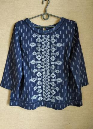 Хлопковая блуза рубашка сорочка с вышивкой
