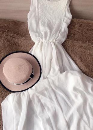 Воздушное белое шифоновое платье шляпа канотье