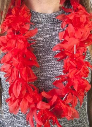 Бусы гавайские леи искусственные цветы гибискус красный