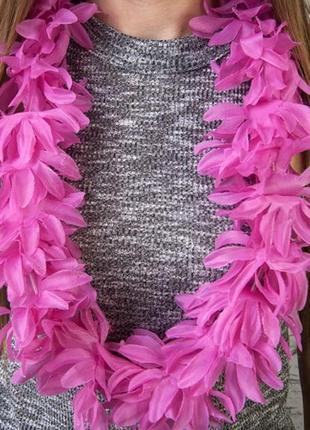 Бусы гавайские леи искусственные цветы гибискус розовый