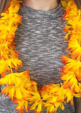Бусы гавайские леи оранжево-желтые искусственные цветы