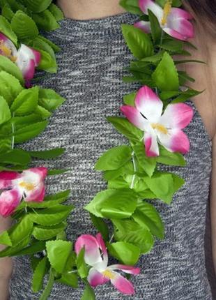Бусы гавайские леи искуственные цветы нимфеи