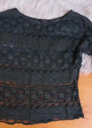 Кружевная кофта блуза вязаная изумрудного цвета