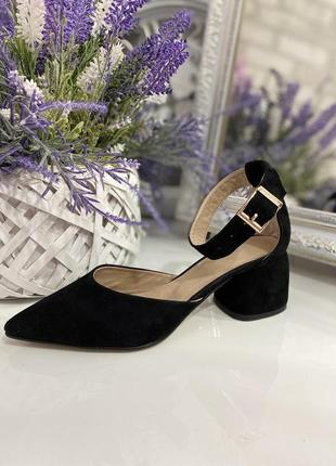 Замшевые туфли на каблуке закрытые босоножки натуральная замша кожа