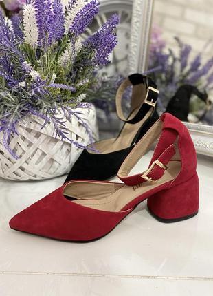 Замшевые туфли на каблуке босоножки натуральная замша кожа