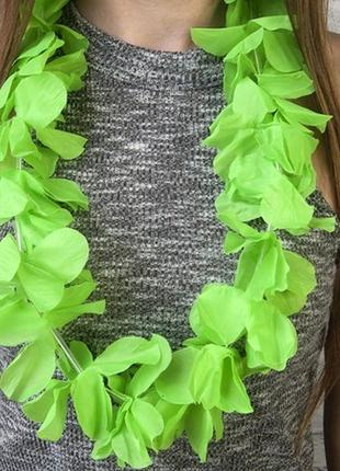 Бусы гавайские леи зеленые искусственные цветы орхидеи