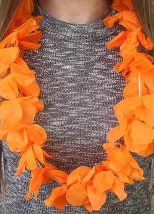 Бусы гавайские леи оранжевые цветы орхидеи