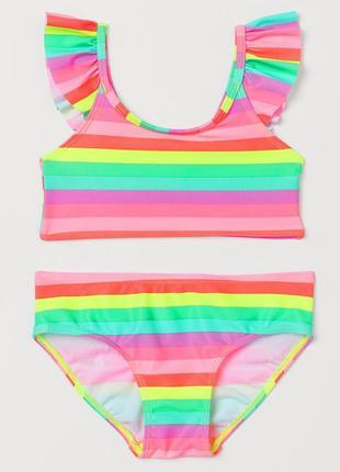 H&m детский раздельный купальник в полоску для девочки