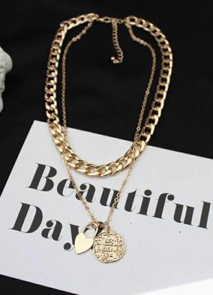 Трендовая цепь цепочка двойная ожерелье подвеска  монетка кулон сердце толстая тонкая