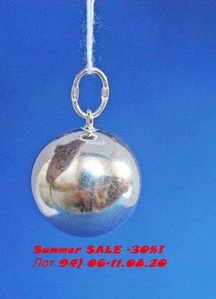 Лот 94) скидка 30%! серебряный подвес шарик (диаметр 19 мм)