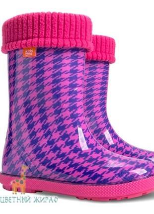 Резиновые сапоги demar hawai lux print пепита шанель розовая