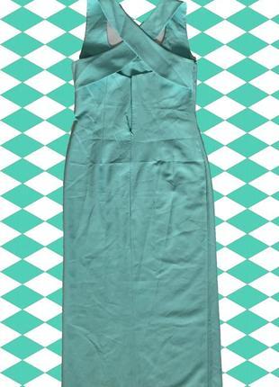 Бело-мятное длинное платье