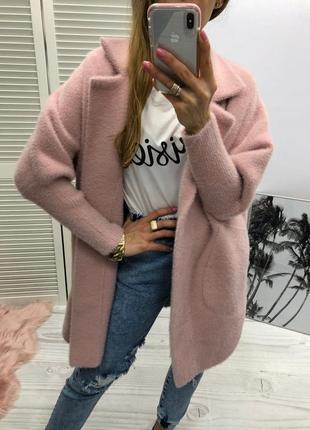 Женское теплое пальто -кардиган ангора альпака разные цвета
