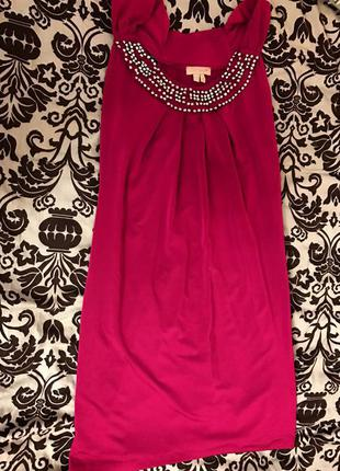 Розовое платье, фуксия прямого кроя, миди, как шелк