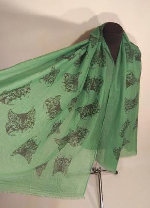 Большой шарф палантин парео вискозный зелёный морды коты огромный новый