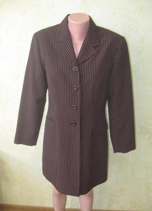 Пиджак удлиненный тренч  в полоску как новый