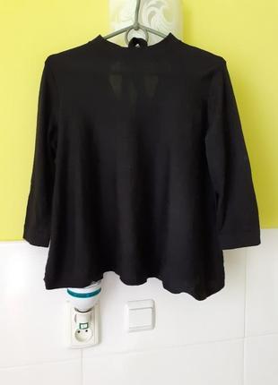 Чёрный шерстяной джемпер свитер трапеция с завязками от cos