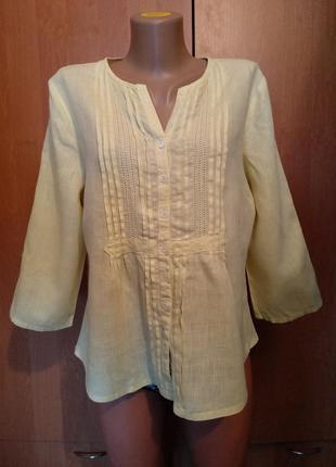Классная льняная блузка лен пог-57 см