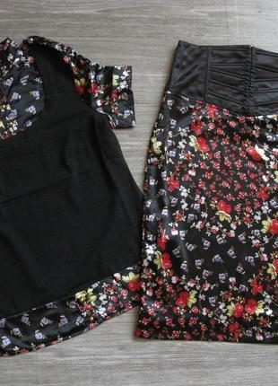 Новый костюм блуза + юбка миди размер m