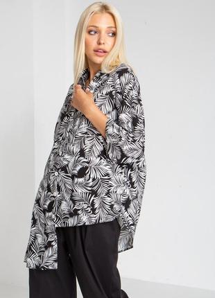 Асимметричная льняная рубашка пальмовые листья
