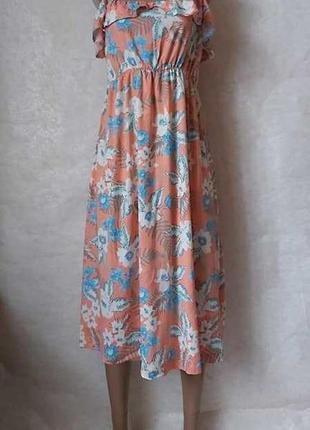 Фирменный new look вискозный нарядный сарафан с воланами в цветочный принт, размер л-хл