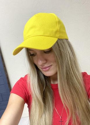 Ярко-желтая однотонная базовая кепка, бейсболка