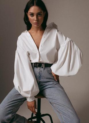 Рубашка женская белая с объемными рукавами