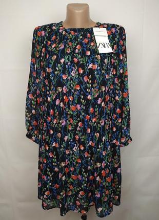 Платье новое шифоновое стильное в цветочный принт оригинал zara m