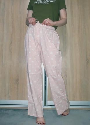 Мягкие легкие хлопковые пижамные штаники в сердечках esmara