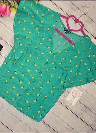 Крутой зелёный топ на пуговицах в принт лимоны 🍋 рукава рюши