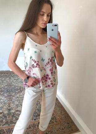 Топ блуза майка у квітковий принт