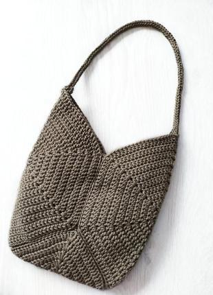 Вязаная модная сумка из полиэфирного шнура ручной работы.