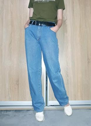 Широкие свободные голубые коттоновые джинсы слоучи бойфренды в стиле палаццо2 фото